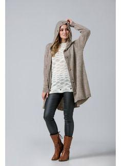 Κωδ.2028-Ασύμμετρη oversized Ζακέτα σε γραμμή Α με τρούκς στην κουκούλα. Knitwear, Sweaters, Fashion, Moda, Tricot, Fashion Styles, Sweater, Knits, Tuto Tricot