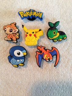 137d7a52016b Pokemon shoe charms fits crocs charizard piplup turtwig pikatchu chimchar  charms