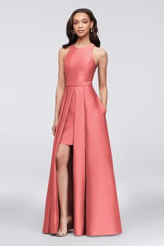 Rendered in lustrous mikado, this classic bridesmaid ball gown gets a modern makeover with bold walkthrough. Lace straps at the back add softness to the structured silhouette. Polyester Back zipper; fully lined Dry clean Imported Davids Bridal Bridesmaid Dresses, Bridesmaid Dress Styles, Evening Dresses, Prom Dresses, Formal Dresses, Wedding Dresses, Elegant Dresses, Designer Dresses, Marie
