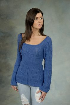 Ravelry: Woman's Cabled Pullover pattern by Plymouth Yarn Design Studio