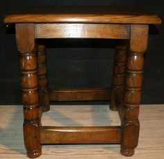 Oak Joint Stool-Late 19th C oak joint stool. 1890.