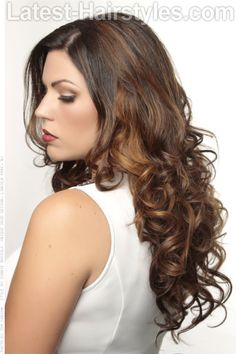 Long Brown Highlighted Hair with Curls Side View