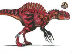 Therizinospinus Lenght: 18 m/ 58 feet long Height: 7 m/ 25 feet long Weight: 7 tons mix between: T-rex, Spinosaurus, Therizinosaurus, Lycaenops and Thylacine. Jurassic World Hybrid, Jurassic Park World, Dinosaur Art, Dinosaur Fossils, Weird Creatures, Mythical Creatures, Michael Crichton, Dino Drawing, Science Fiction Games