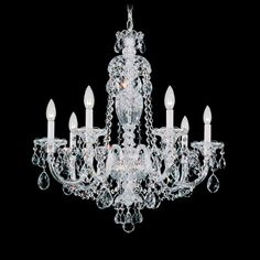 "Schonbek 2995 25"" Wide 7 Light Chandelier from the Sterling Collection Polished Silver Indoor Lighting Chandeliers"