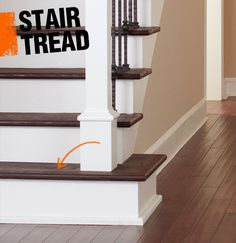 A stair tread is the horizontal plane, most commonly made of wood, where you place your foot on the staircase.