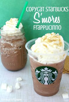 Copycat Starbucks S?mores Frappucinno - This is Starbucks new s& recipe and is so yummy! I love how creamy and chocolatey it is! Smoothies, Starbucks Drinks, Starbucks Coffee, Starbucks Frappe Recipe, Coffee Drinks, Homemade Starbucks Recipes, Coffee Coffee, Coffee Beans, Coffee Maker