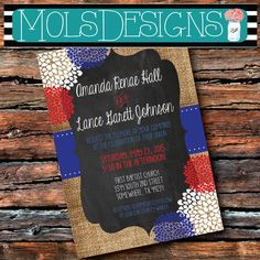 WEDDING RED WHITE Blue Usa 4th of July Labor Memorial Day Vintage Burlap Chalkboard Floral Bridal Brunch Rehearsal Baby Shower Invitation Patriotic wedding