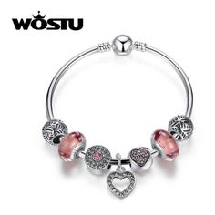 Aliexpress Hot Silver Pink Heart Charm Bangle… via Polyvore featuring jewelry, bracelets, heart jewellery, heart shaped jewelry, bangle charm bracelet, silver jewellery and silver bangle charm bracelet