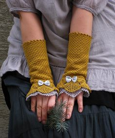 Willow Leaf   crocheted open work lacy wrist by hypericumfragile, $35.00