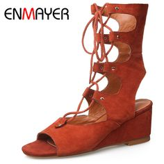 Find More Women's Sandals Information about ENMAYER Fashion Motorcycle Boots Wedges Shoes Women Sexy Sandals Summer Boots Cut out Black Beige Lace up Shoes for Women,High Quality shoes wear,China shoe earring Suppliers, Cheap shoe diy from Shop408473 Store on Aliexpress.com