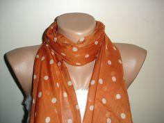 Items similar to Chiffon Scarf - Fashion Scarves For Women - Long Orange White Scarf on Etsy Polka Dot Scarf, White Scarves, Chiffon Scarf, Pashmina Scarf, Scarf Styles, Womens Scarves, Fashion Scarves, Fancy, Stylish