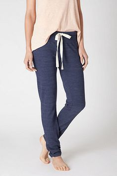 Silk-Tied Loungers #anthropologie  Splendid's slim jersey pants are crinkled at the ankle and knotted at the waist with a luxe bow.