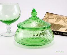 Elegant Depression Glass Covered Jar by Imperial