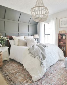 Kitchen Colour Combination, Master Bedroom Makeover, Master Bedrooms, Bedroom Inspo, Bedroom Inspiration, Bedroom Ideas, New Paint Colors, Accent Wall Bedroom, Bedroom Color Schemes