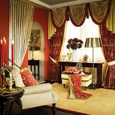 Dynasty in red and gold #curtains #upholstery #interiors #decoration #classic #gordijnen #meubelstoffen #wooninrichting