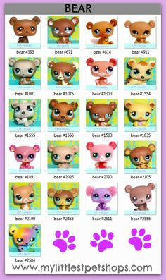 LITTLEST PET SHOP – BEAR. Learn all the pet numbers for all the bears that hasbro toys sells. Many more pet shop lists available at http://mylittlestpetshops.com. Repin if BEARS are one of your favorite LPS pets!