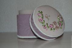 Купить Шкатулка Цветы - комбинированный, светло сиреневый, кремовый, Вышивка лентами, вышивка ручная, шкатулка