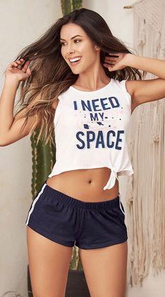 I Need My Space Pajama Short Set, White Pajamas - Yandy.com Mini Shorts, Pajama Shorts, Lingerie Sleepwear, Sexy Lingerie, Sexy Outfits, Pajama Set, Girl Fashion, Clothes, Short Set