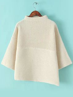 Beige Stand Collar Asymmetrical Knit Sweater