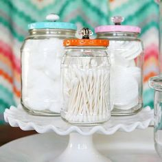 Pretty Bathroom Jars Made From Pickle Jars {Bathroom Accessories}