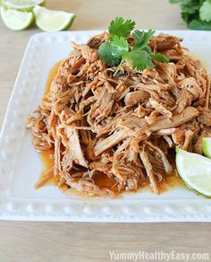 Copycat Cafe Rio Sweet Pulled Pork | Tender pulled pork cooked in the slow cooker then shredded. Tastes just like Cafe Rio's pork barbacoa!
