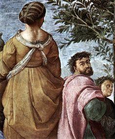 RAFFAELLO SANTI Il Parnaso 1510 - 11 Roma, Vaticano, Stanza della Segnatura - E' il presunto ritratto di LUDOVICO ARIOSTO, che in qualità di governatore estense della Garfagnana, ebbe a che fare con un contingente delle truppe di Giovanni, che nel 1524 avevano invaso il territorio per depredarlo, al comando di un capitano detto il Todeschino. Le forze del duca Alfonso d'Este reagirono e il Todeschino fu seriamente ferito