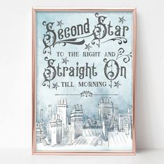 Details about peter pan second star quote print nursery wall art home decor kids room 24 ideas painting canvas ideas quotes peter pan painting quotes Star Nursery, Disney Nursery, Nursery Wall Art, Girl Nursery, Disney Wall Art, Nursery Design, Nursery Decor, Peter Pan Bedroom, Peter Pan Nursery