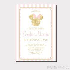 Invitación de cumpleaños de Minnie Mouse Oro y por PristinePrintCo
