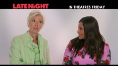 Name a more iconic duo, we'll wait. Emma Thompson and Mindy Kaling star in - in theatres Friday Too Little Too Late, Late Night Movies, John Lithgow, Late Night Talks, Mindy Kaling, Emma Thompson, Hugh Dancy, Stars At Night, Theatres