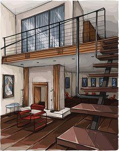 Interior Architecture Drawing, Interior Design Renderings, Architecture Concept Drawings, Drawing Interior, Architecture Sketchbook, Architecture Design, Koshino House, House Design Drawing, Interior Design Presentation