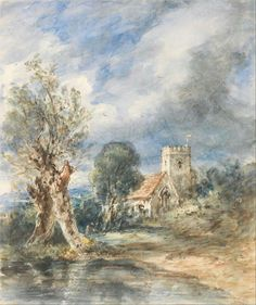 """John Constable, """"Chiesa di Stoke Poges"""", 1834, acquerello e pennino con inchiostro marrone su carta. New Heaven, Yale Center for British Art"""