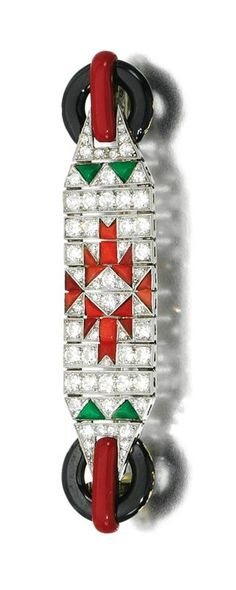 Coral, jade, enamel and diamond brooch, 1920s