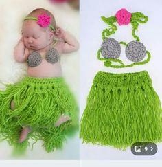 Crochet hula skirt and coconut bra for baby