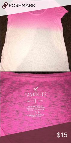 American eagle shirt American eagle shirt! Pink and white! Size large! American Eagle Outfitters Tops Tees - Short Sleeve