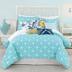 Trina Turk Trellis Turquoise Comforter Pillow Sham Set