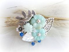 Floral  brooch bird brooch carved amazonite by MalinaCapricciosa