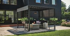 See new living and dining patio furniture, sleek outdoor fireplaces and fire pits, and industrial-style barbecues. Budget Patio, Patio Diy, Patio Pergola, Backyard, Contemporary Garden Furniture, Contemporary Garden Design, Dyi, Modern Outdoor Fireplace, Outdoor Fireplaces
