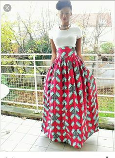 Long wax skirt (African loincloth): Skirt by pagnshopea - Fashion: lange Röcke - Jupe African Inspired Fashion, Africa Fashion, African Print Dresses, African Dress, African Attire, African Wear, Modelos Fashion, Look Fashion, Womens Fashion
