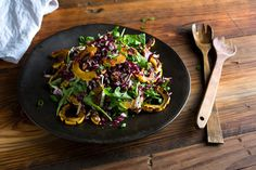 The sweetness of delicata squash complements the bitter arugula and radicchio in this colorful salad. Andrew Scrivani for The New York Times Roasted Squash and Radicchio Salad With Buttermilk Dressing