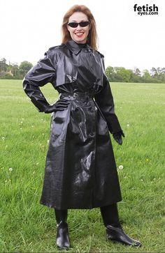 Black Rubber Raincoat, Gloves & Boots