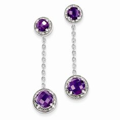 Sterling Silver Diamond & Amethyst Earring Attributes Polished;Open back;Post;Sterling silver;Amethyst;Diamond;Round;Dangle Product Type:Jewelry Jewelry Type:Earrings Earring Type:Drop & Dangle Materi