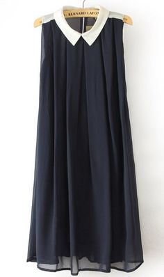 Navy Lapel Sleeveless Pleated Chiffon Dress