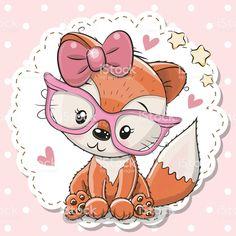 Cute Fox girl in pink eyeglasses. Cute cartoon Fox girl in pink eyeglasses vector illustration Cartoon Cartoon, Kids Cartoon Characters, Cute Cartoon Girl, Cute Cartoon Animals, Cute Animals, Cute Rats, Cute Fox, Cute Images, Cute Pictures