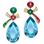 Bulgari aquamarine, emerald, ruby & diamond drop earrings, limited edition