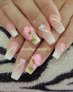 Clear French tips nail roses 3d Flower Nails, Rose Nails, 3d Nail Designs, Acrylic Nail Designs, Gorgeous Nails, Pretty Nails, Exotic Nails, Simple Acrylic Nails, Luxury Nails