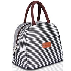 BALORAY Lunch Bag Tote Bag Lunch Organizer Lunch Holder Lunch Container (Brown White Stripes) -- Continue to the product at the image link. (This is an affiliate link) Insulated Lunch Containers, Insulated Lunch Box, Lunch Box Containers, Lunch Tote Bag, Picnic Bag, Picnic Cooler, Adult Lunch Box, Cute Lunch Boxes, Reusable Lunch Bags