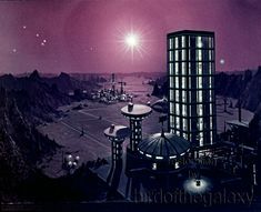 https://flic.kr/p/cYKCDQ | Wide shot of alternate Starbase 11 matte painting with spike sun and stars | A sharp and somewhat wide shot of a matte painting similar to that shown in the first season episode Court Martial depicting Starbase 11. The spikes coming from the sun or bright star in the upper center suggest to me this was either an alternate matte or an earlier version before editing or optical treatment, as I am used to seeing this image with rings around the bright object. Several…