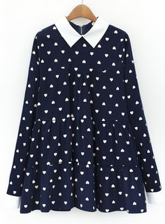 Navy Contrast Lapel Hearts Print Pleated Blouse US$42.67