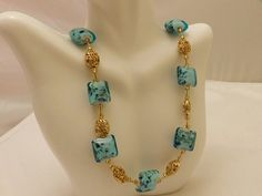 Gold Tone Blue Glass Bead Vintage Necklace by TheJewelryCabinet