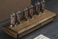 Vostok-2 Nixie tube clock in ash and brass case Nixie Tube Watch, Ash, Unique Jewelry, Handmade Gifts, Vintage, 30 Years, Clocks, Man Cave, Workshop